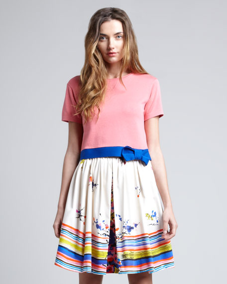 Printed A-Line Skirt, Blue/Multicolor