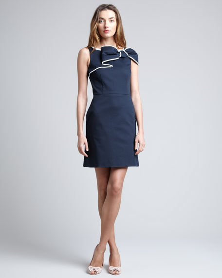 Bow-Front Sheath Dress, Navy/White