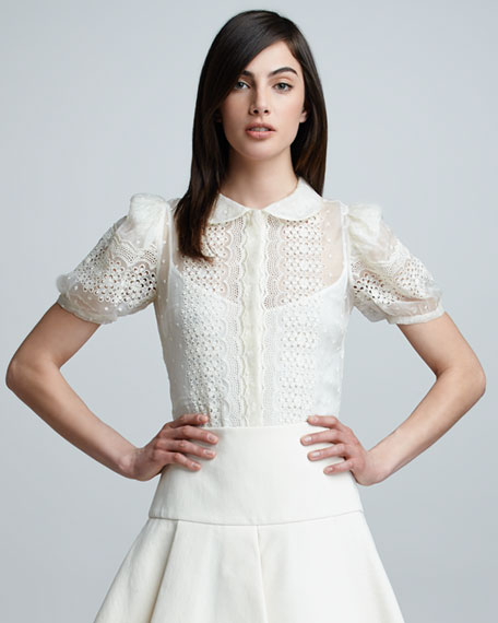 Embroidered Button-Front Blouse, Ivory