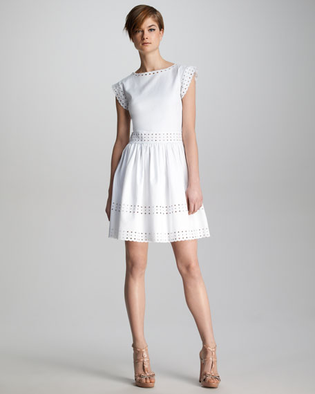Pique-Knit Sangallo Eyelet Dress