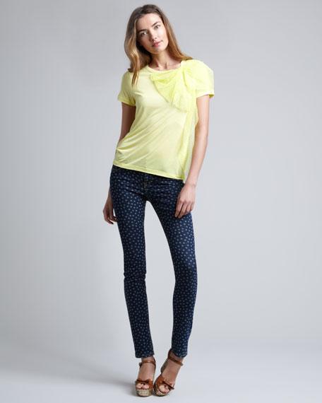 Dot-Print Skinny Jeans