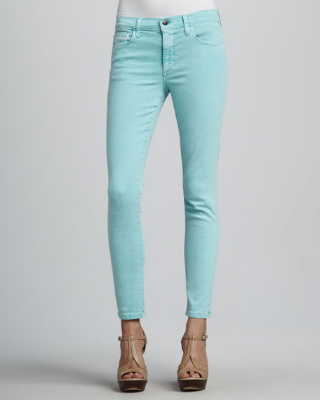 Straight-Leg Cropped Jeans, Aqua Blue