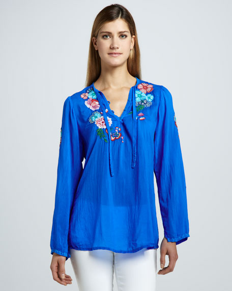 Rain Forest Embroidered Blouse, Women's