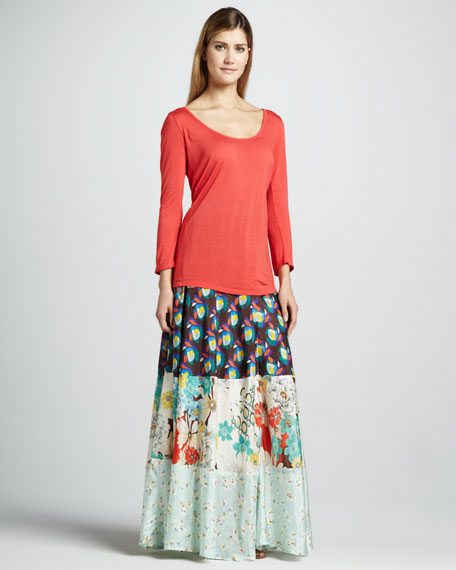 Mixed-Printed Maxi Skirt, Women's