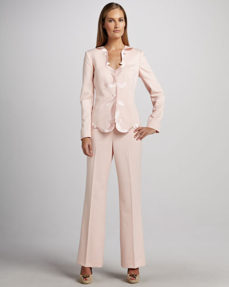 Pant Suit with Scalloped Placket on Jacket