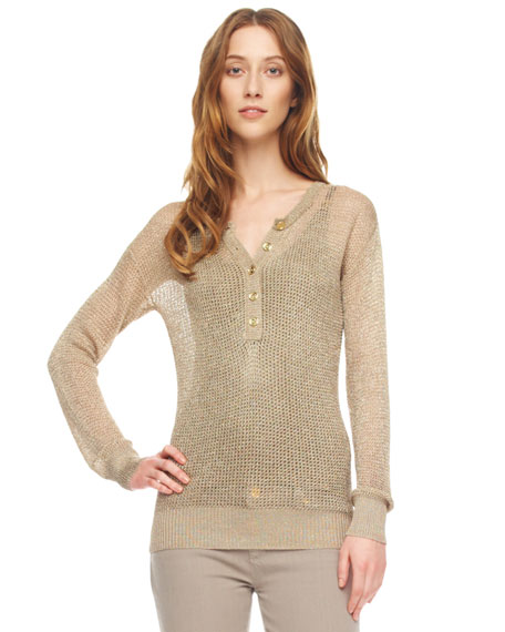 Metallic Mesh Henley Top