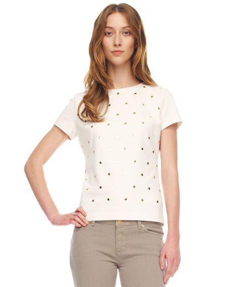 Studded Short-Sleeve Tee, Women's