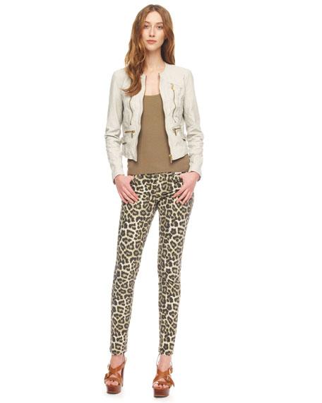 Leopard-Print Skinny Jeans, Women's