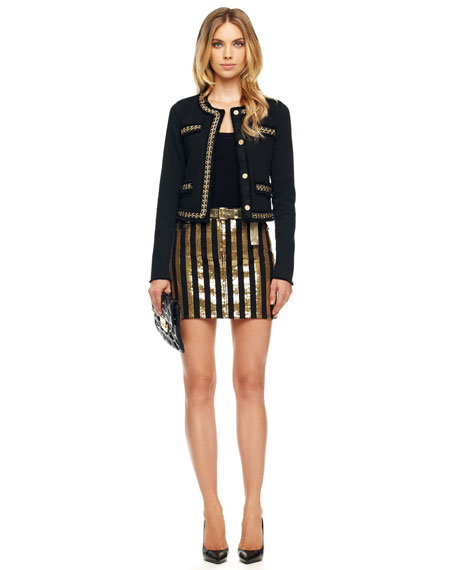 Sequin-Stripe Denim Skirt