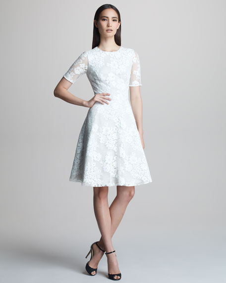 Lace Half-Sleeve Fit-and-Flare Dress
