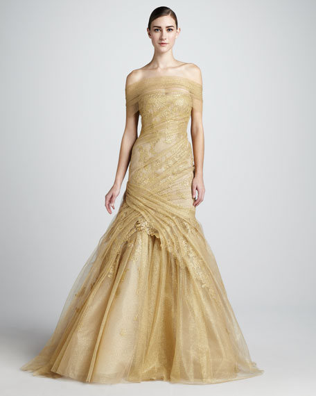 Ruched-Lace Trumpet Gown
