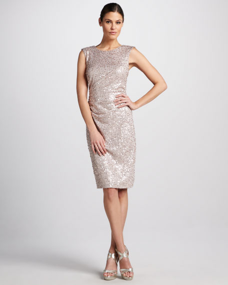 Sequined Cocktail Dress with Back Bow