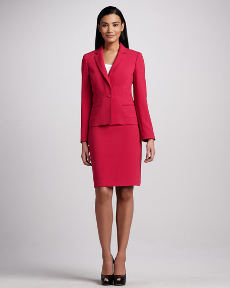 Notched Collar Skirt Suit