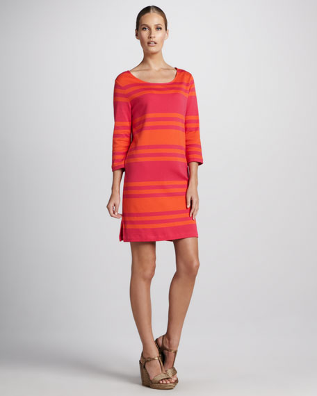 Three-Quarter-Sleeve Striped Dress, Women's