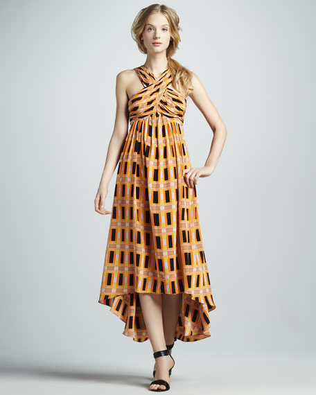 Printed High-Low Crisscross Dress