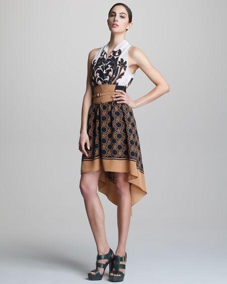Belted High-Low Halter Dress
