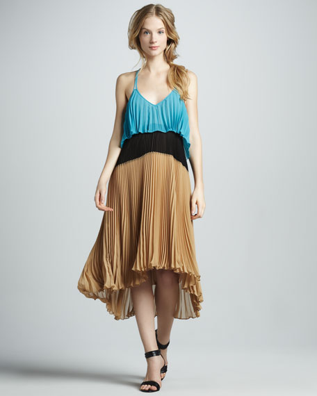 Pleated High-Low Halter Dress