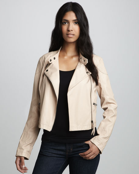 Sunburst Faux-Leather Motorcycle Jacket, Ivory