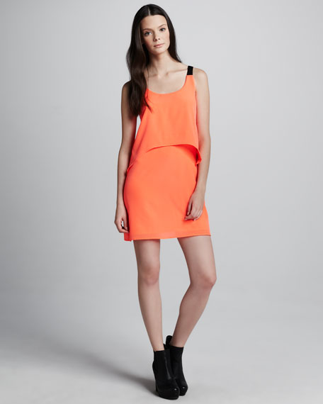 Layered Charmeuse Dress, Coral
