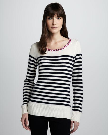 Jewel-Neck Striped Sweater