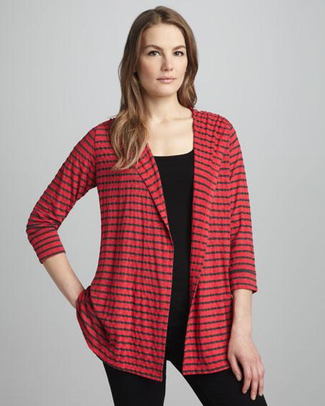 Striped Hooded Open Cardigan