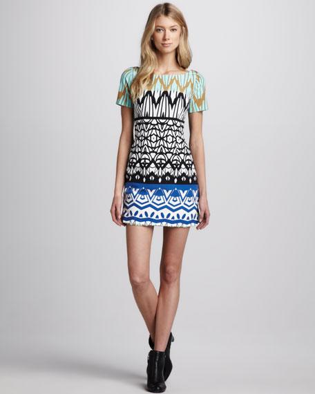 Mixed-Print Shift Dress