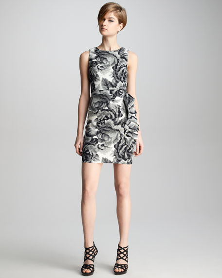 Lorena Digital Floral Dress, Black/Cream