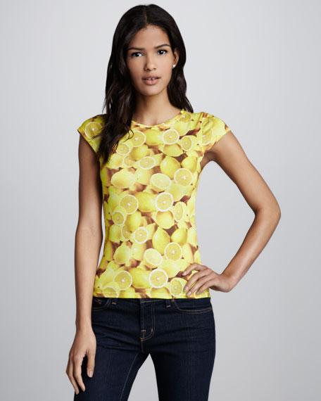 Lemon-Print Back-Zip Top