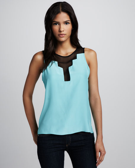 Chiffon-Panel Sleeveless Top