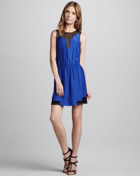 Chiffon-Inset Dress