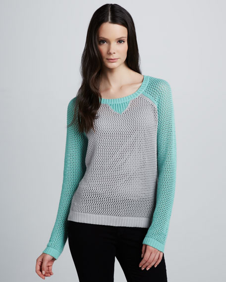 Two-Tone Mesh Sweater