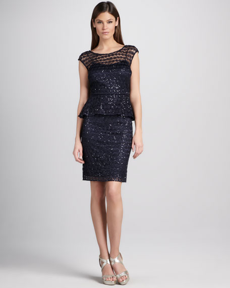 Sequined Lace Peplum Cocktail Dress