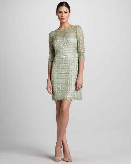 Lace and Sequined Cocktail Dress
