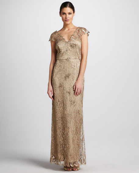 Lace and Sequined Double V-Neck Gown