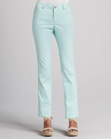 Saddie-Straight Lizard-Print Jeans