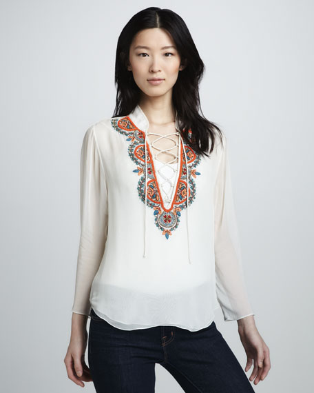 Beaded Lace-Up Shirt