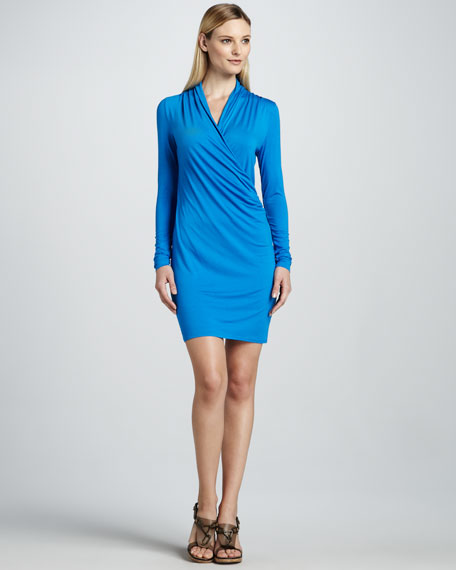 Long-Sleeve Faux-Wrap Dress