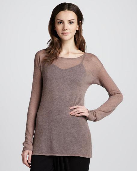 Sheer Bateau Sweater, Mauve