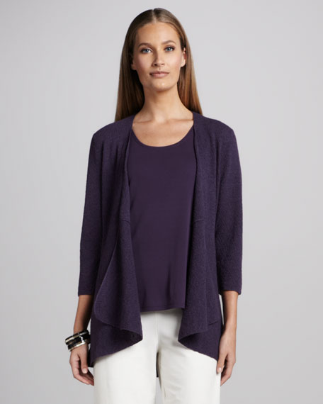 Washable Long Wool Cardigan, Grape