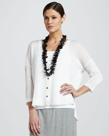 Linen Mesh Cropped Cardigan