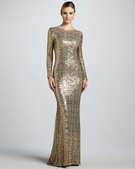 Sequined Gown with Cowl Back