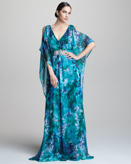 Cold-Shoulder Caftan Gown
