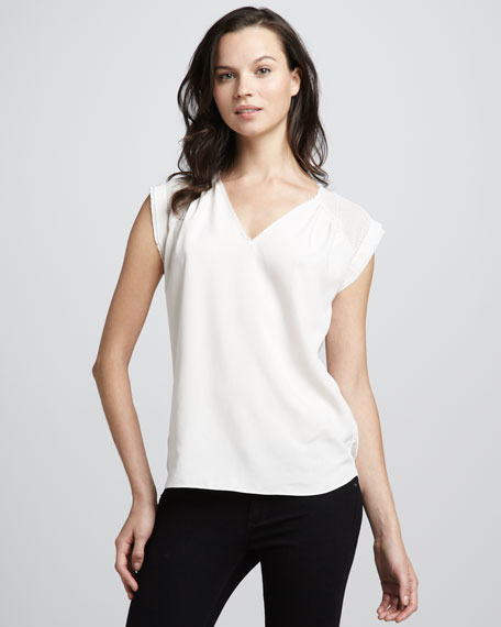 Net-Shoulder Silk Top