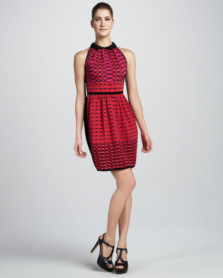 Diamond-Stripe Colorblock Dress