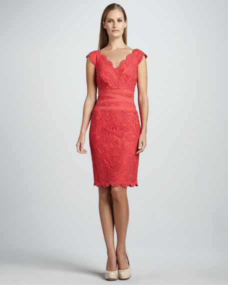 Scalloped-Neck Lace Cocktail Dress