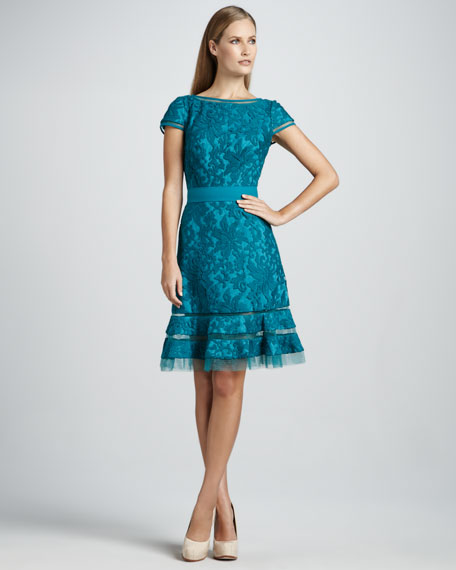 Cap-Sleeve Cocktail Dress with Full Skirt