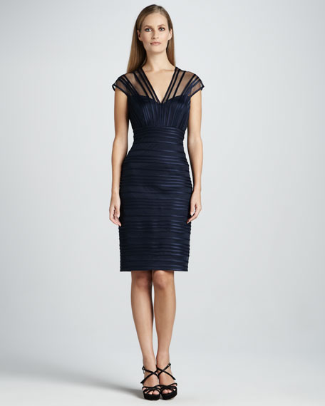 V-Neck Cocktail Sheath with Illusion Details