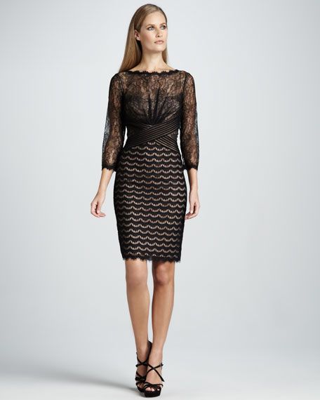 Three-Quarter-Sleeve Mixed Lace Cocktail Dress