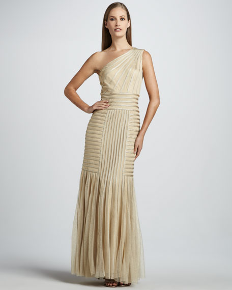 One-Shoulder Gown with Illusion Detailing