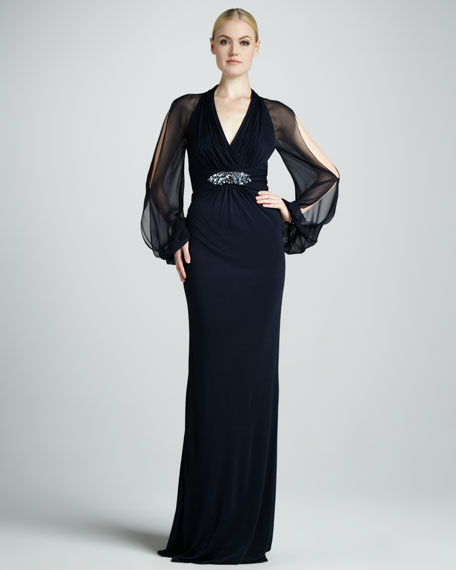 Cold-Shoulder Empire Waist Gown